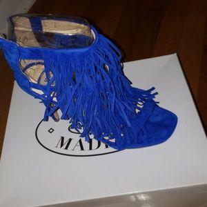 Steve maddden Blue suede fringe heels